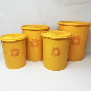 Vintage Tupperware 4 Piece Canister Set Yellow